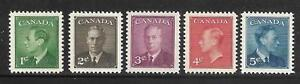 Canada-289-293-King-George-VI-Postes-Postage-Omitted-Complete-Set-1950-MNH