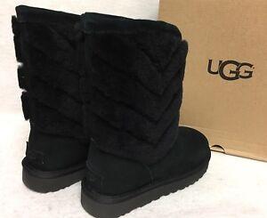 bdf3f4190d3 Details about UGG Australia Tania Black Suede / Sheepskin Short Boots  Women's Cuff 1012391 5