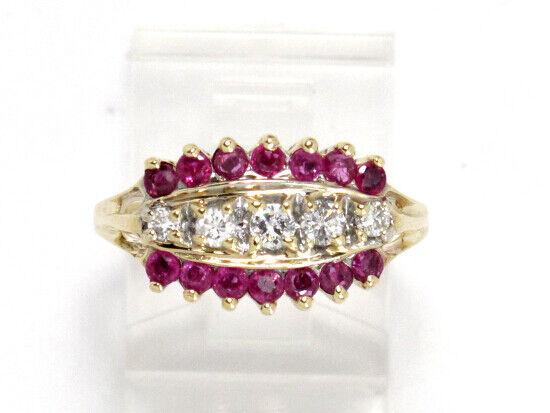 10k Yellow gold Round Pink Tourmaline and Diamond 3 Row Ring .65ct