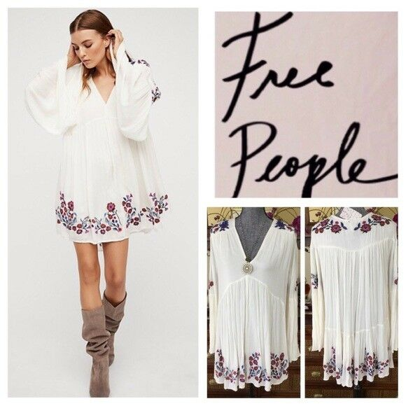 Free People Te Amo Embroidered Dress XS Neutral White  148 NWTS Extra Small
