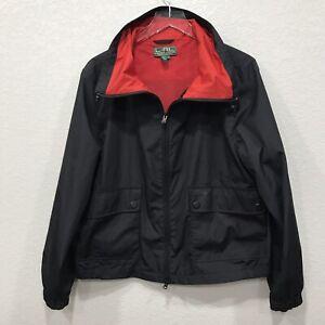 Ralph-Lauren-Women-Lightweight-Active-Track-Jacket-Front-zip-Anorak-Red-black-XL