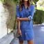 Womens Denim Dress Summer Long Sleeve Casual Loose Tops Mini Shirt Dress MAY