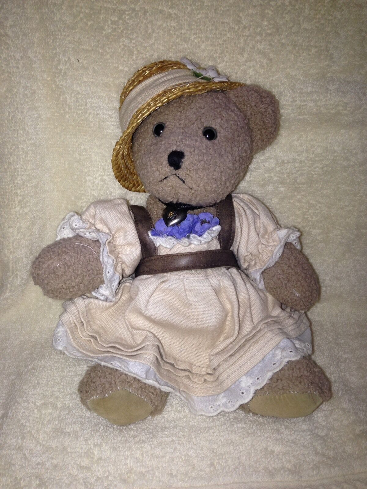 G Wurm KG-KOLN Germany Made Teddy Bear W Hat,Dress & Heart Necklace-Hard To Find