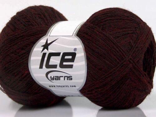 50 g = Lauflänge 375 m rot Lace schwarz ICE Wool Double fine
