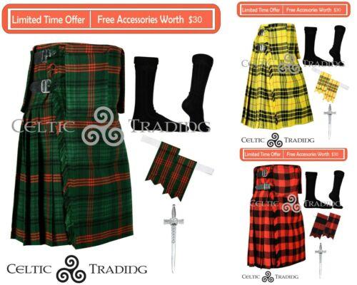 Custom Size Kilt Handmade Scottish 8 Yard TARTAN KILT With Free Accessories