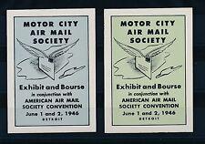 77422)  Luftpost 2 Vignetten Blocks  USA Motor City AMS 1946