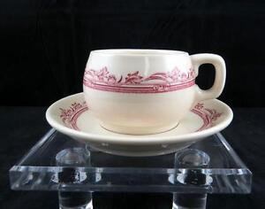MAYER-CHINA-TRUE-IVORY-WELLINGTON-DARK-RED-2-1-4-034-CUP-AND-SAUCER-SET-1930-1950