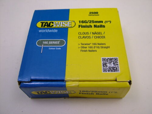2nd fix collated straight brad nails Tacwise brand 16 gauge 25mm box of 2500
