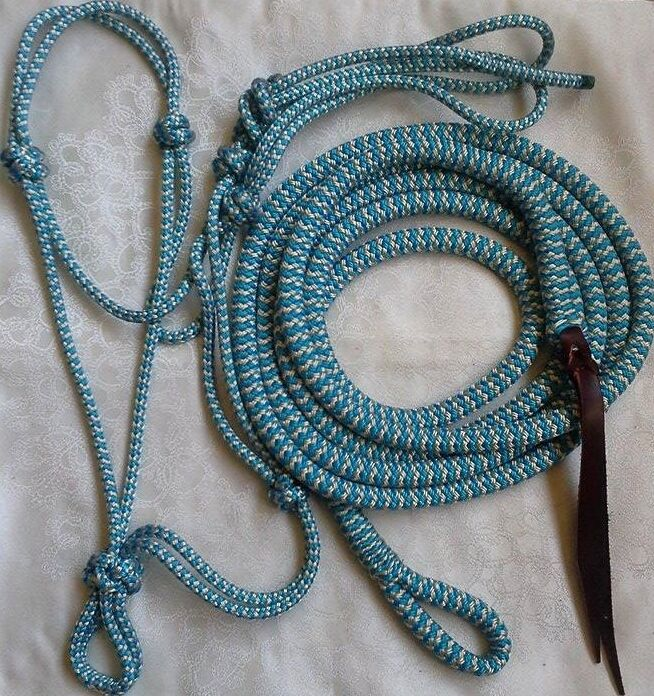 bluee Beige Zig Zag Rope Halter & 14ft Lead with Loop Set - Choice of size