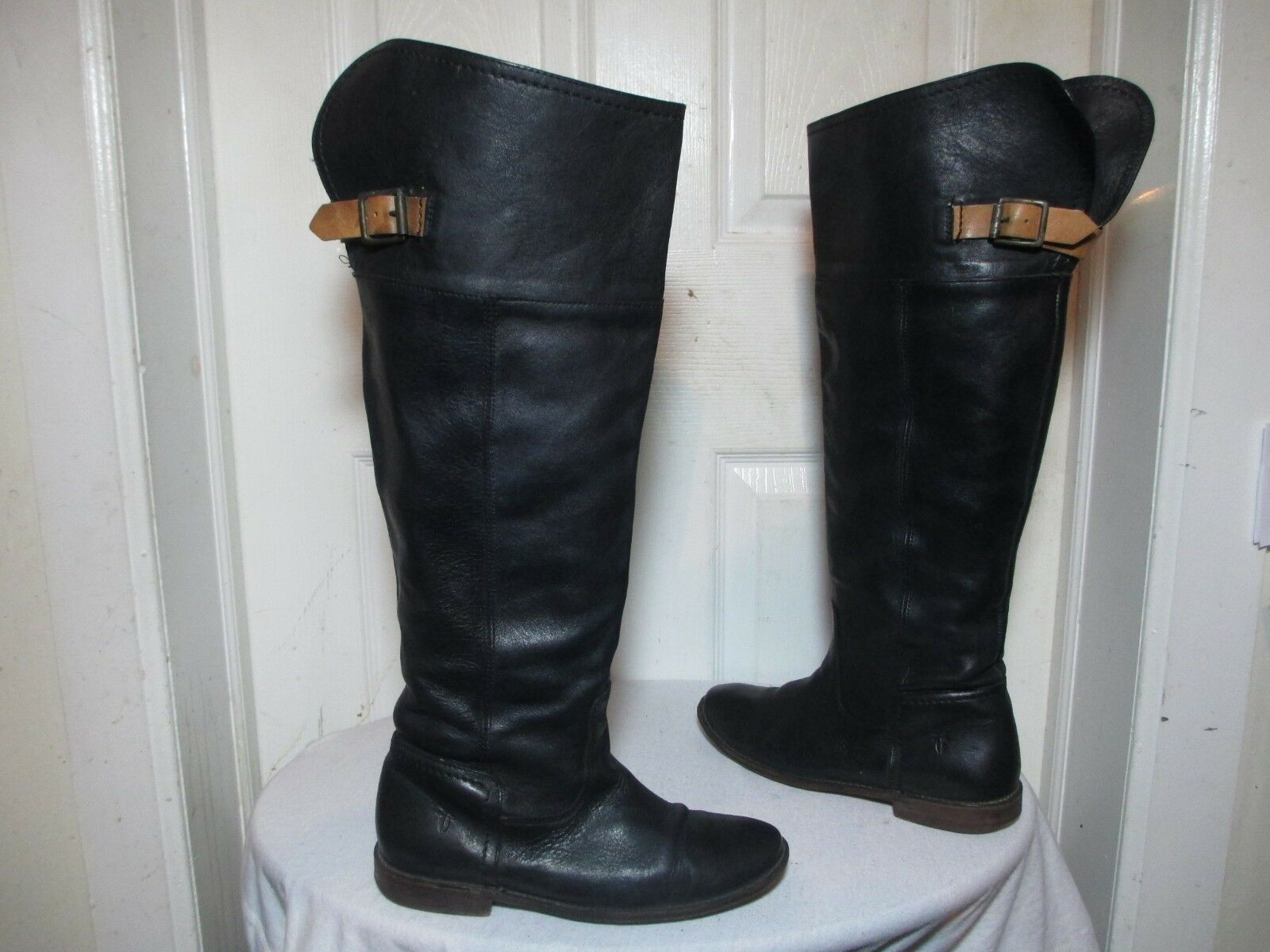 ultimi stili FRYE PAIGE 77061 WO'S BLK BLK BLK LEATHER BUCKLED OVER THE KNEE TALL RIDING stivali US 7 B  a buon mercato