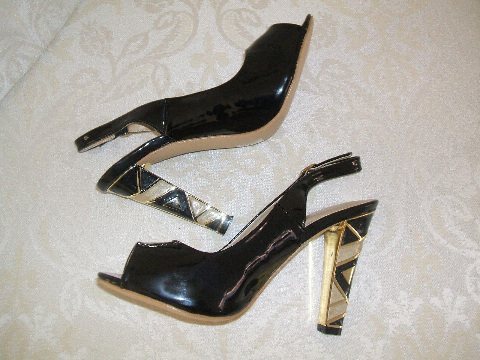 LUNAR FLC419 SIZE 5 OR 6 BLACK IVORY CREAM GOLD PATENT SLINGBACK Schuhe SANDALS