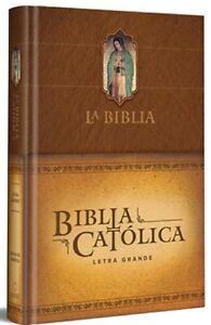 La Biblia Católica: Edición letra grande. Tapa dura, marrón,Virgen de Guadalupe