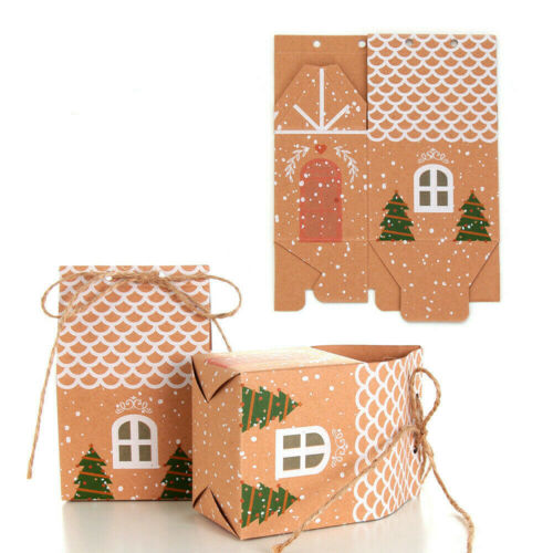 10Pcs Christmas Candy Gift Bags Cookie Bag Xmas Packaging Party Boxes Sweets Box