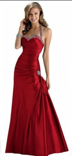 69bbc70ad21 Valentines Red Beaded Halter Bridesmaid Prom Formal Dress Gown 4   6 Small