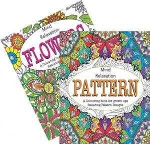 Martello-Pattern-Flowers-Adult-Colouring-Books-relaxation-anti-stress-Pack-of-2