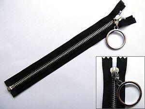 Zip-cremallera-tirador-de-Anillo-Colgante-extremo-abierto-separando-Metal-YKK-Negro