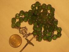 chapelet ancien cristal vert antique green crystal  rosary 55 cm