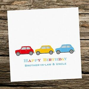 Image Is Loading Personalised Classic Mini Cars Happy Birthday Card