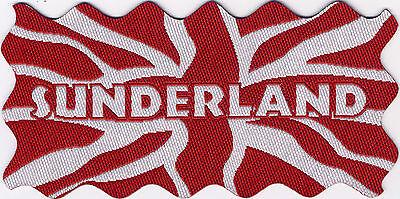 Sunderland Union Jack UK Flag Woven Badge Patch Motif 98mm x 48mm IRON ON