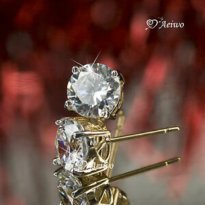 18K-YELLOW-WHITE-GOLD-GF-STUD-MADE-WITH-SWAROVSKI-CRYSTAL-EARRINGS-6MM