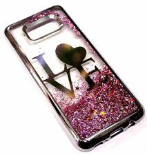 For Samsung Galaxy S8+ PLUS - Silver Love Heart Pink Glitter Liquid Water Case