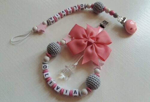 Any name***Pink Personalised beautiful pram charm Dummy clip