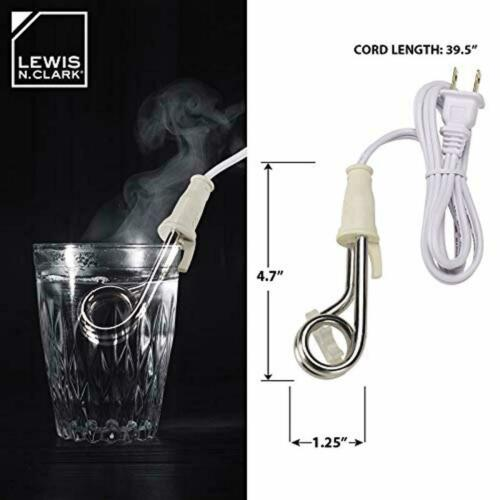 Clark Portable Travel Immersion Water Heater 120//240V for Boiling Water Lewis N