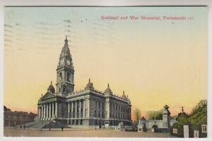 Hampshire postcard - Guildhall and War Memorial, Portsmouth - P/U 1935 (A835)