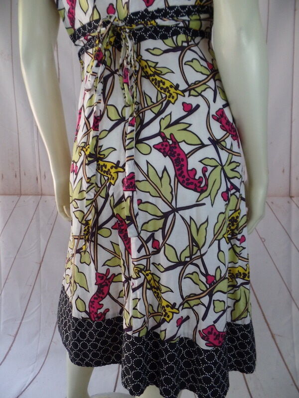 Corey Lynn Calter Dress 6 Cotton Silk Multicolor Cats Leaves Leaves Leaves Print Fitted Flare bb7e79