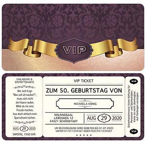 Das Bild Wird Geladen VIP Ticket Einladungskarten Zum Geburtstag Als  Eintrittskarte Ticket