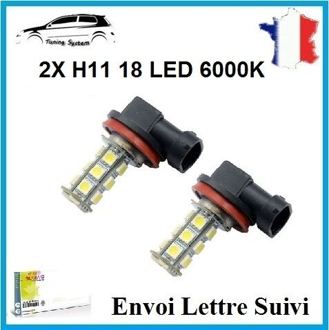 2 AMPOULES 18 LED SMD H11 ANTI BROUILLARD FEUX TUNING 6000K BMW SERIE 1 E87