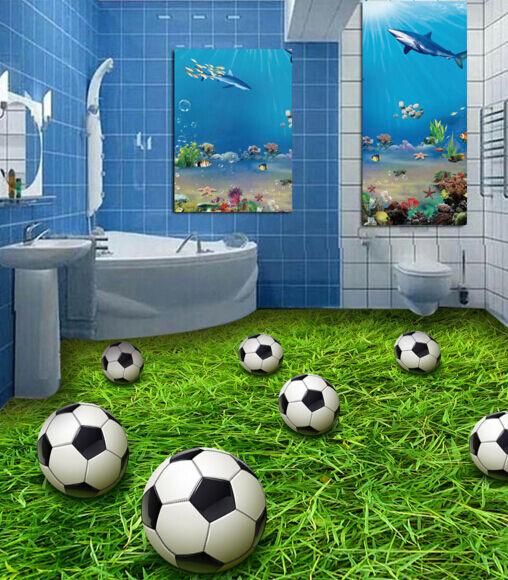 3D Balones De Fútbol Césped Piso impresión de parojo de papel pintado mural 53 5D AJ Wallpaper Reino Unido Limón