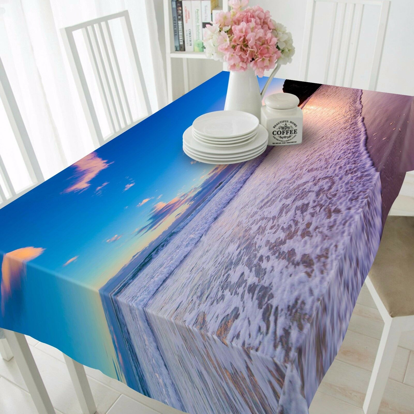 3D Wave Beach Tablecloth Table Cover Cloth Birthday Party AJ WALLPAPER UK Lemon