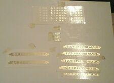 LIONEL PRE-WAR STANDARD SCALE  428-429-430 GOLD METALLIC WATER DECAL SERIF LOOK!