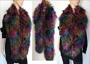 Echarpe-longue-Multicolore-Chic-et-chaude-en-fourrure-synthetique-a-poils-longs