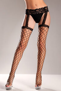 Fence net stockings with lace garter belt
