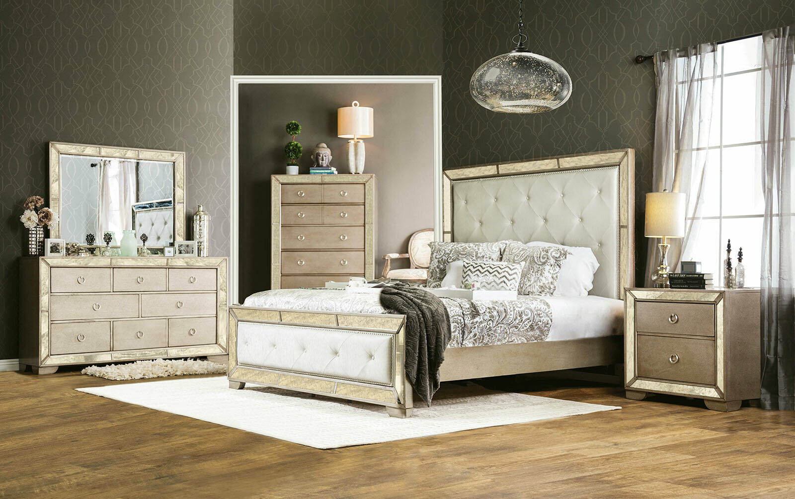 New Champagne Finish Mirror 5 Piece Bedroom Set W Faux Leather Queen Bed Icau For Sale Online