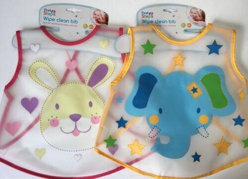Wipe Clean 2 x Waterproof Bib Rabbit /& Elephant
