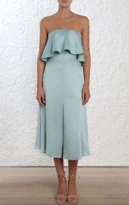 e987e3a65f18 Image is loading Zimmermann-Strapless-Flounce-Dress-Seafoam-blue-Bridesmaid- Cocktail-