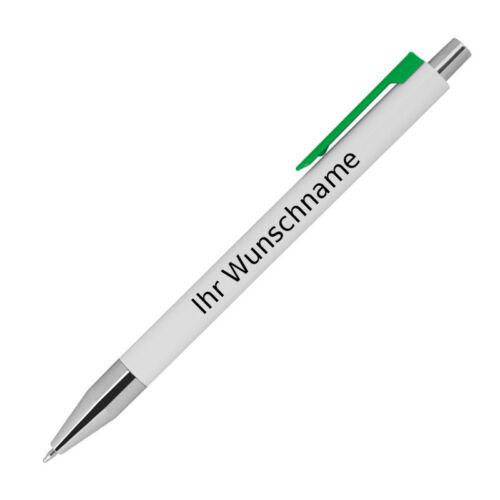 10 Kugelschreiber mit Gravur weiß mit grünen Clip Farbe