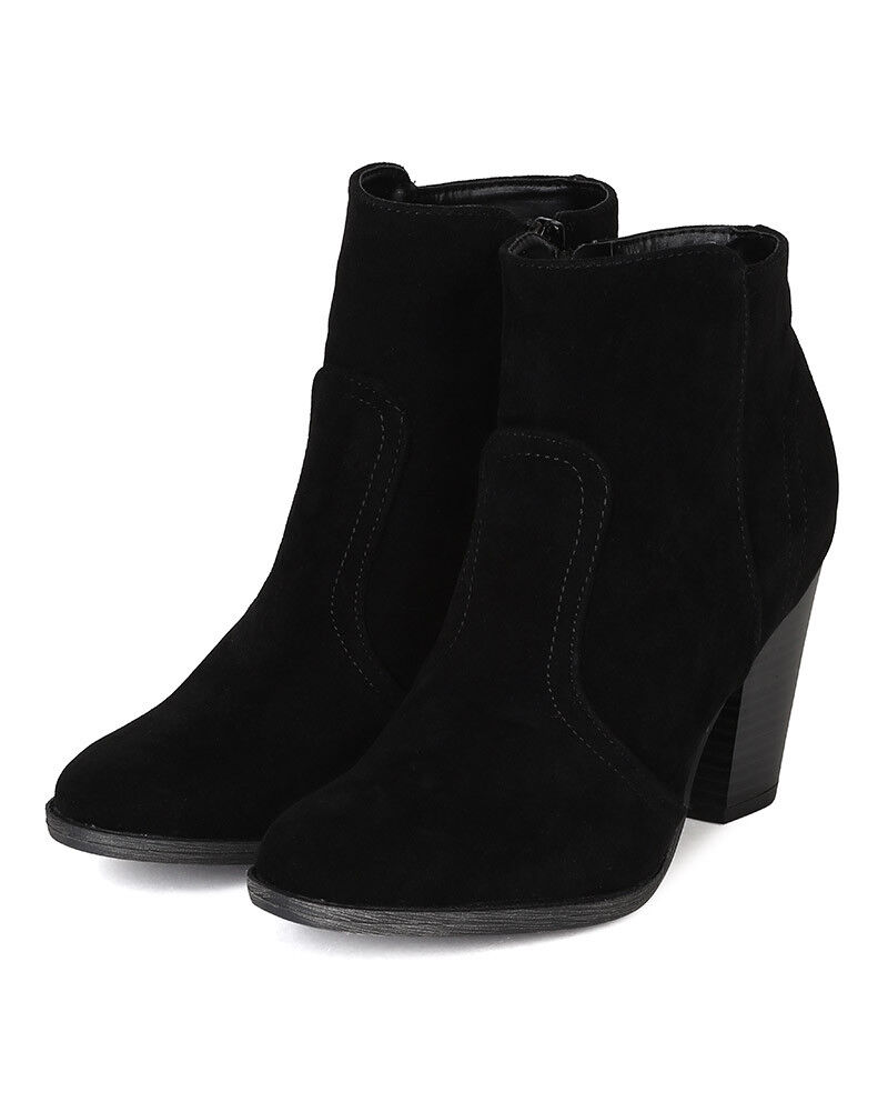 Breckelles Heather-34W New Women Suede Round Toe Chunky Heel Riding Ankle Bootie