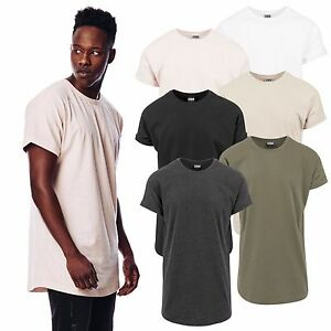 9af3812d0f3d87 Das Bild wird geladen Urban-Classics-Herren-T-Shirt-Shaped-Turnup-Long-