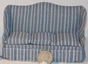 Dollhouse Miniature Blue/Gray White Sofa 1:12 one inch scale D47 Dollys Gallery