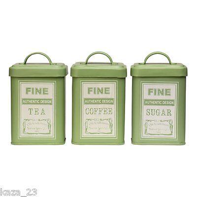 3 x Retro WHITBY TEA COFFEE SUGAR Canister SET - GREEN Cream Square Storage Tins