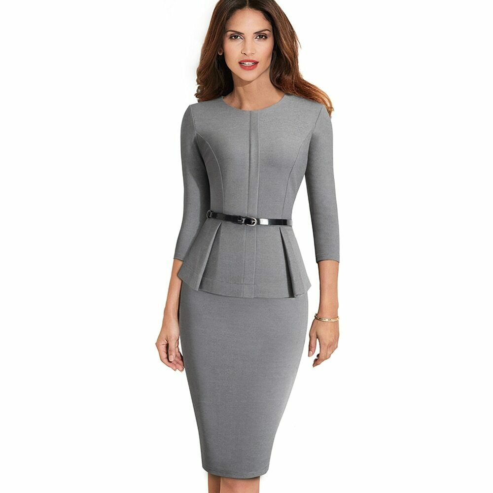 Women Elegant Sashes Solid color Bodycon Work Wear Office Dress