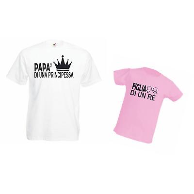 COPPIA T-SHIRT UOMO BIMBA PRINCESS KING 100% COTONE FESTA DEL PAPA' IDEA REGALO