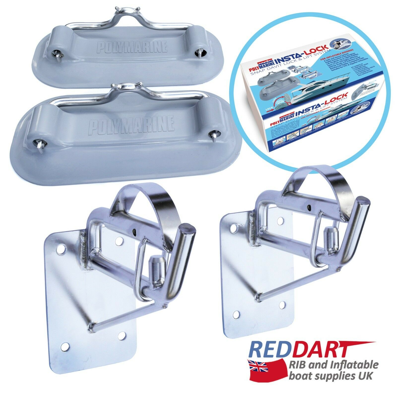 Snap Davits voor Inflatable Dinghy Insta-Lock Transom mount