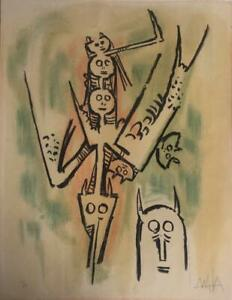 Original Wifredo Lam serigraph signed and numbered by the artist. Untitled