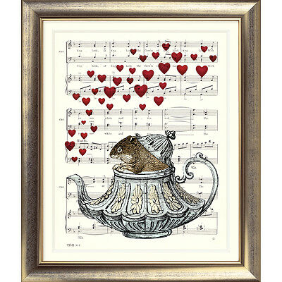 ART PRINT ORIGINAL VINTAGE MUSIC SHEET Page DORMOUSE Alice in Wonderland Teapot