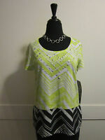 Onque Casuals Lime Chevron Top Silver Studded Front Sz Petite M Steinmart